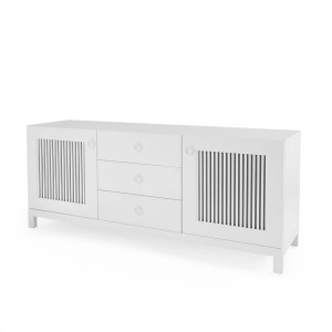 DucDuc Cabana Wooden 3 Wide Credenza in White with Dark Grey