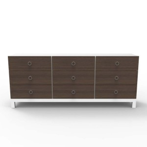 DucDuc Cabana Wooden Nine Drawer Credenza in White & Stained Walnut