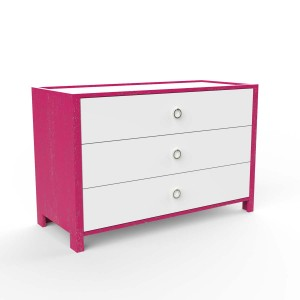 DucDuc Cabana Wooden Three Drawer Dresser in Hot Lips Pink & White