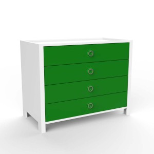 DucDuc Cabana Wooden Four Drawer Dresser in White & Kelly Green