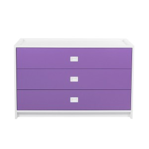 DucDuc Campaign 3 Drawer Dresser White with Crocus Petal