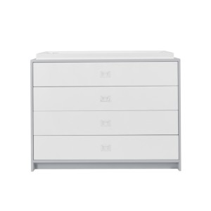 """DucDuc Campaign Changer 36"""" H Four Drawer Light Grey"""
