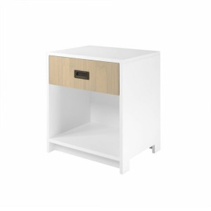 DucDuc Campaign 1 Drawer Nightstand White with Bleached Walnut