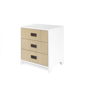 DucDuc Campaign 3 Drawer Nightstand White with Bleached Walnut