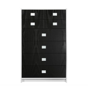 DucDuc Campaign Tall Dresser White with Onyx