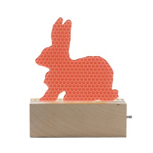 Don't Cry Wolf Wood & Pink Acrylic Bunny Night Light