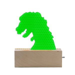 Don't Cry Wolf Wood & Green Acrylic t-rex Night Light