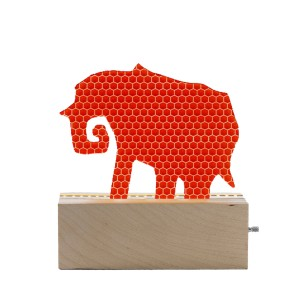 Don't Cry Wolf Wood & Orange Acrylic Elephant Night Light