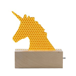 Don't Cry Wolf Wood & Yellow Acrylic Unicorn Night Light