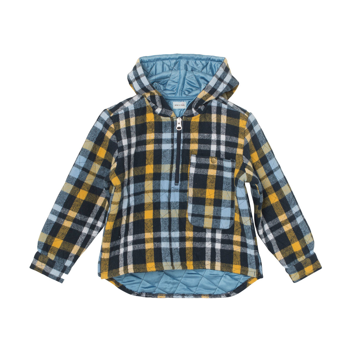 MiniATure Aron Hooded Shirt in Blue Check