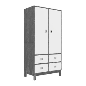 DucDuc Campaign Armoire Dark Grey Cerused with White