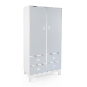 DucDuc Campaign Armoire White with Light Grey