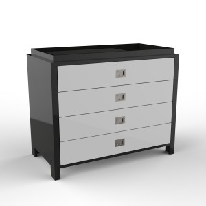 DucDuc Campaign Changer 4 Drawer Onyx with White