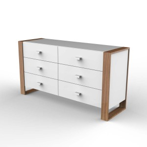 DucDuc Austin 6 Drawer Credenza in White with Natural Oak