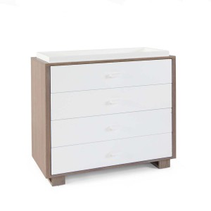 DucDuc Austin 4 Drawer Changer in Bleached Walnut & White