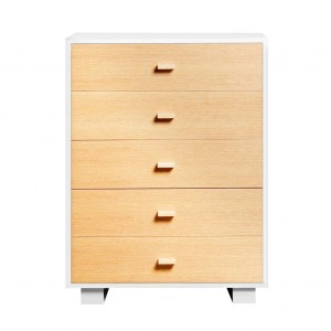 DucDuc Austin 5 Drawer Dresser in White with Natural Oak