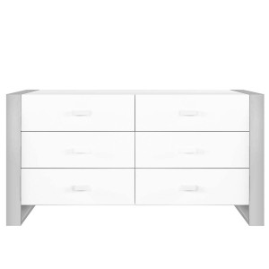DucDuc Austin Doublewide Dresser in White with Light Grey
