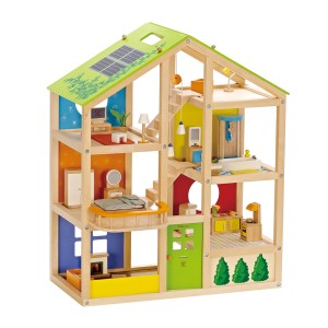 Hape Wooden All Seasons doll house with furniture