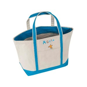 Cece DuPraz Large Boat Tote with Custom Artwork in Aqua