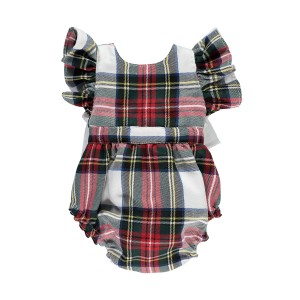 Benedita Red Tartan Plaid Sleeveless Romper