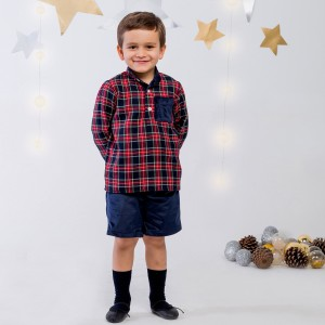 Benedita Navy Tartan Plaid Long Sleeve Shirt on boy