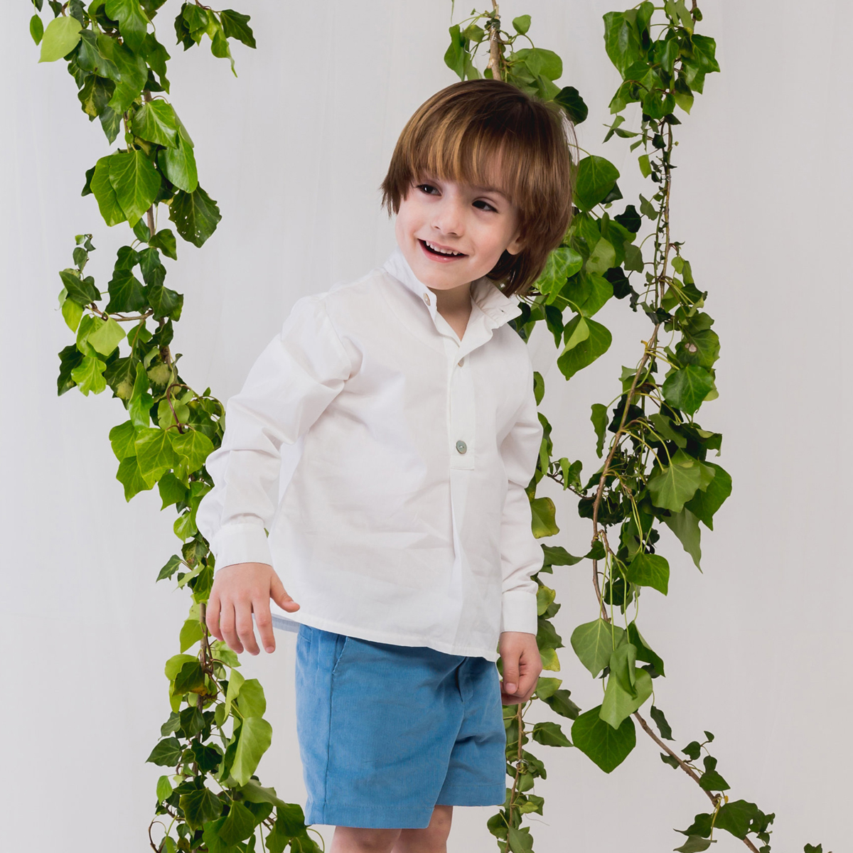 Benedita White Long Sleeve Tunic Shirt on boy