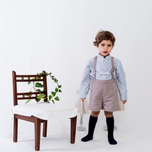 Benedita Light Brown Suspender Shorts on boy