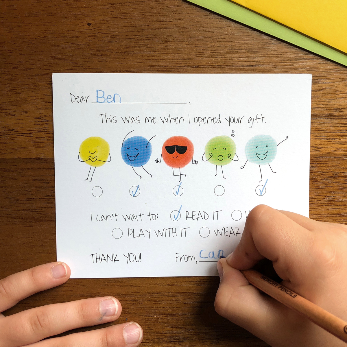 The Kid Who Can Thank You Note Card Set in Bright Colors with kid