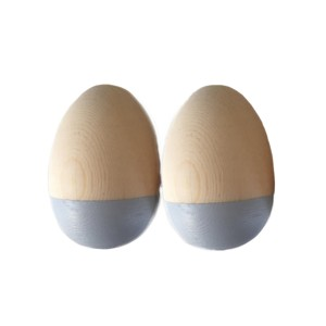 BabyNoise Wooden Egg Shakers in Natural & Grey