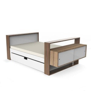DucDuc Twin Bed with Trundle in White with Bleached Walnut