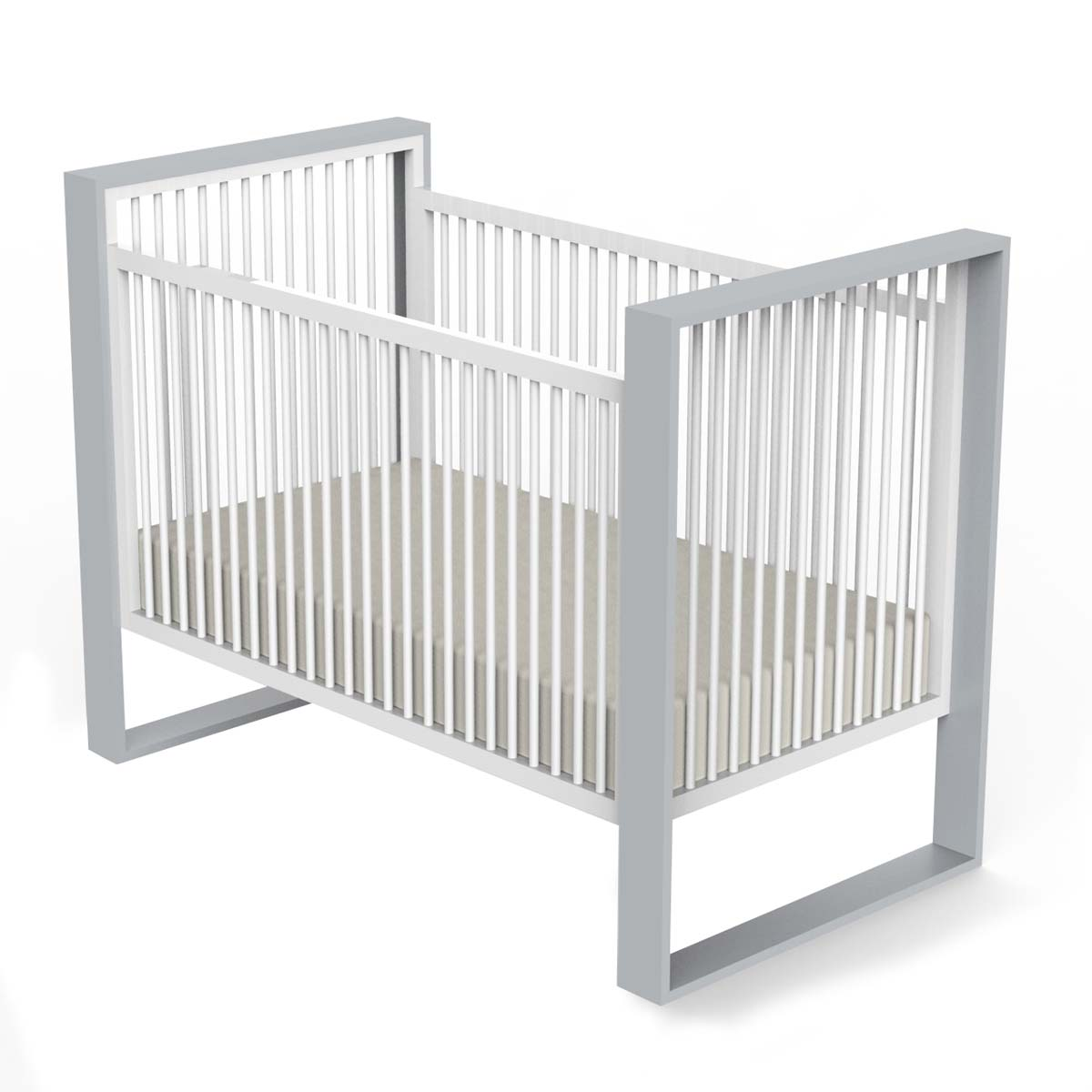 DucDuc Austin Crib in Light Grey & White