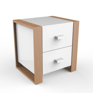 DucDuc Austin 2 Drawer Nightstand in White & Natural Oak