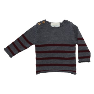 Lous Louise Pull Bobby Sweater in Grey & Burgundy Stripes