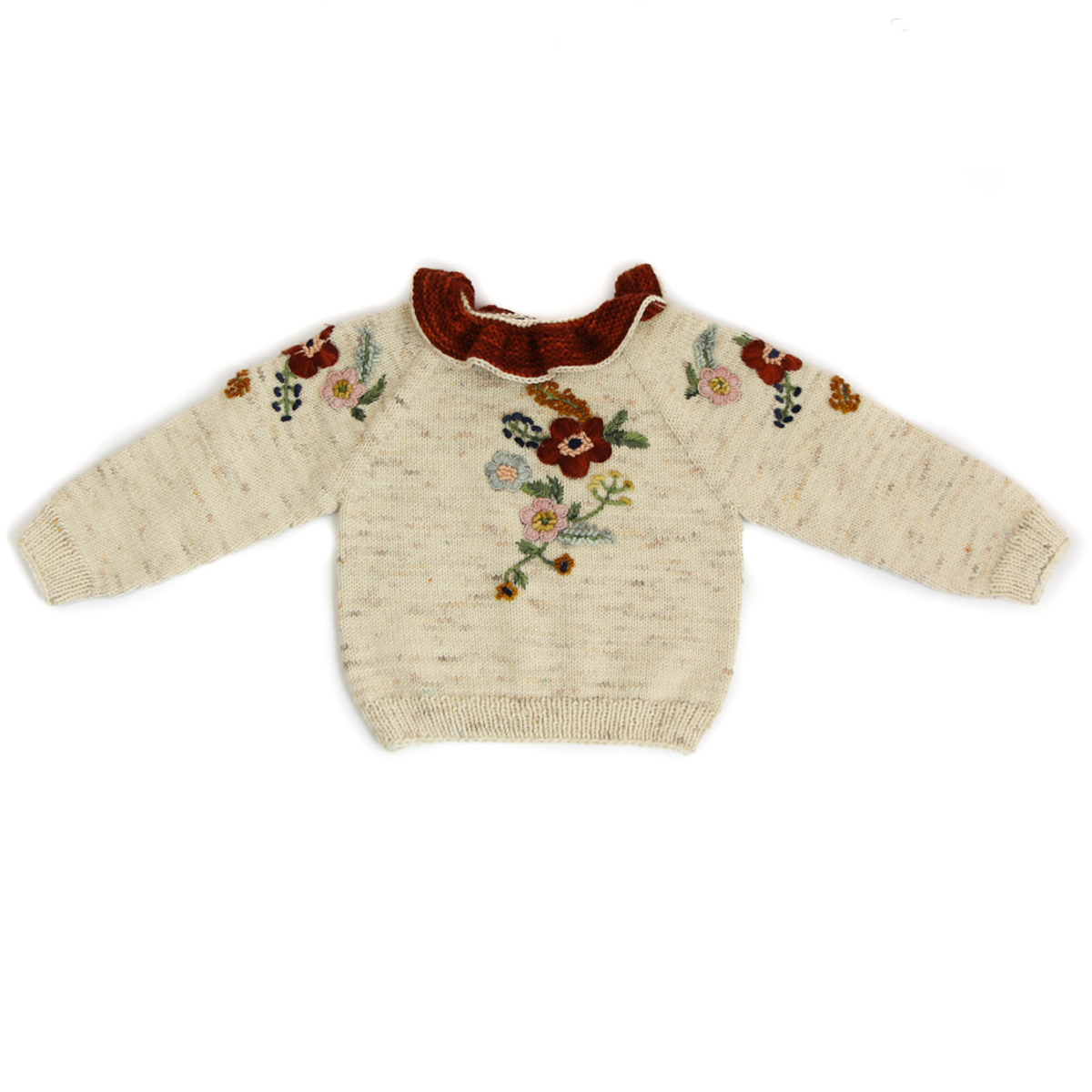Kalinka Stephanie Sweater in Natural with maroon