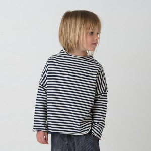 Go Gently Nation Pullover Tee in Navy Stripe on girl