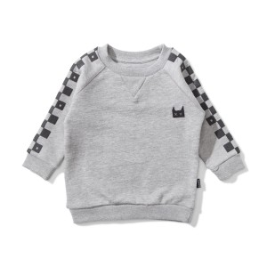 Munster Kids Flagged Fleece Sweatshirt in White & Black