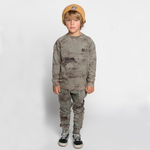 Munster Kids Island Life Pants in Washed Olive on boy