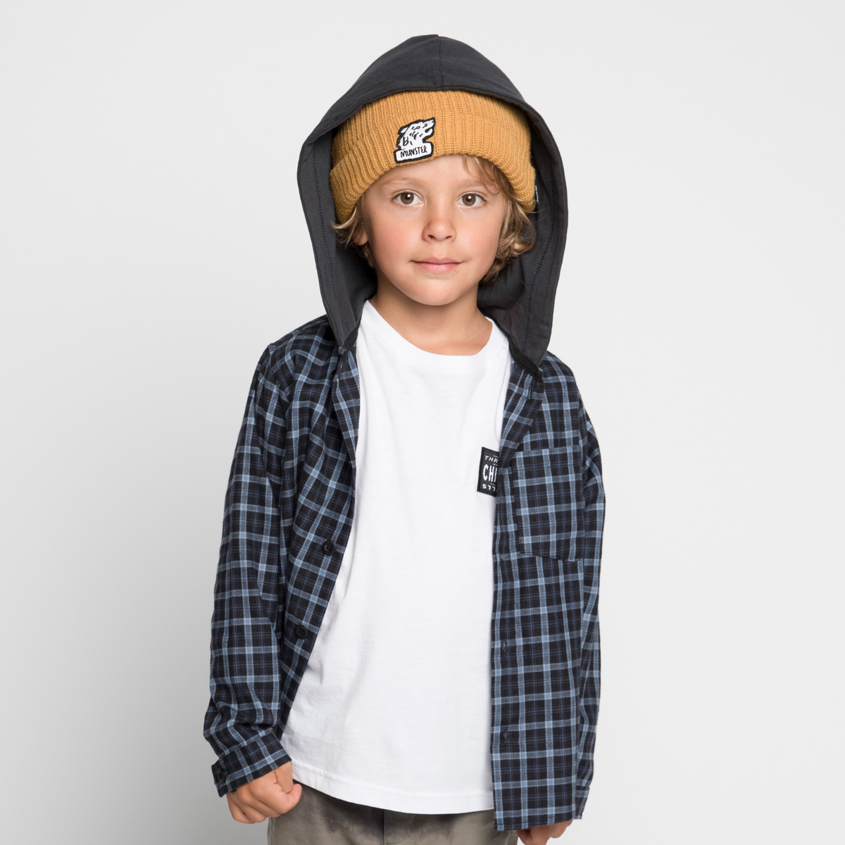Munster Kids Huffle Flannel Shirt in Blue Check on boy