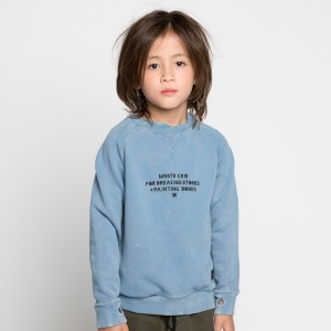 Munster Kids Unbrushed Sweatshirt in Washed Blue