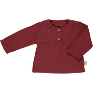 Poudre Organic 3 Button Blouse in Syrah Maroon