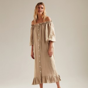 Sleeper Linen Lounge Dress in Beige on woman