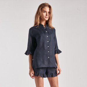 Sleeper 2-piece Linen Lounge Suit in Navy on woman