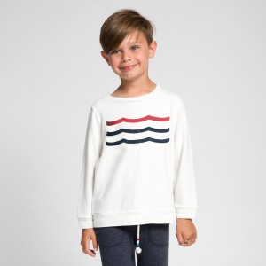 Sol Angeles Americana Waves Pullover in white
