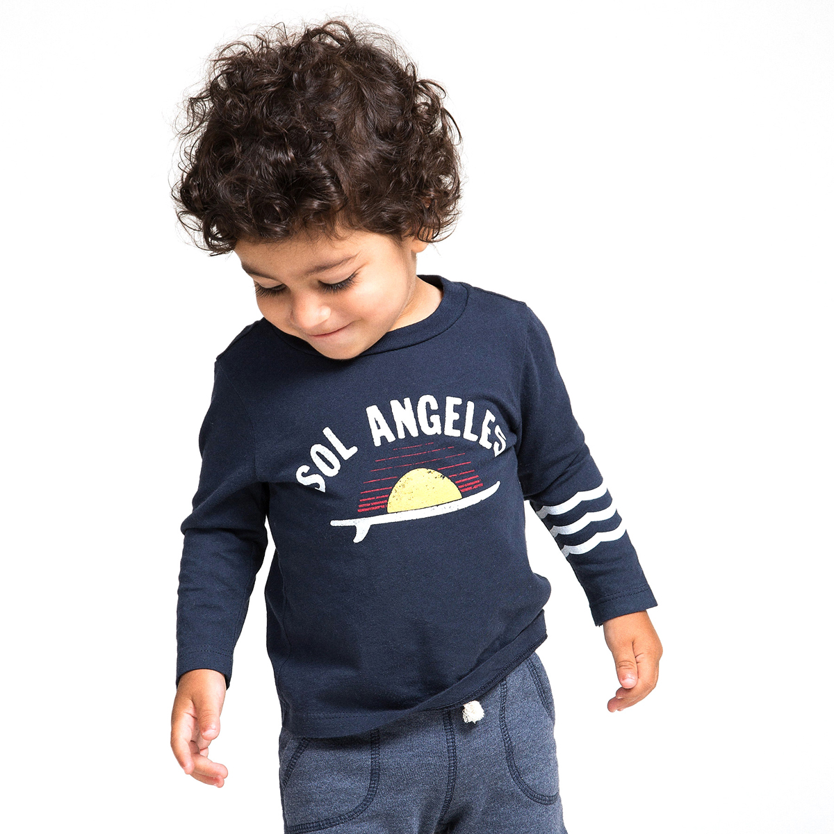 Sol Angeles Long Sleeve Tee in Sol Angeles Surf print on toddler