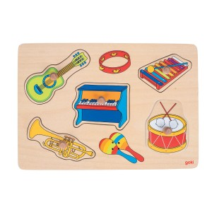 Goki Wooden Puzzle featuring instruments