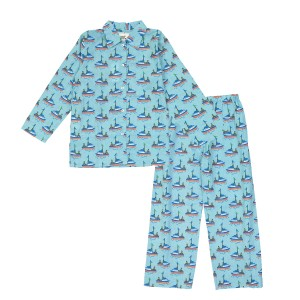 Le Petit Lucas Pajama set in Blue Boats print
