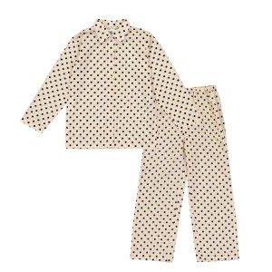 Le Petit Lucas Pajama set in Beige with Black Dots Print