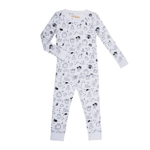 Petidoux Pajamas in White with Black Ghosts