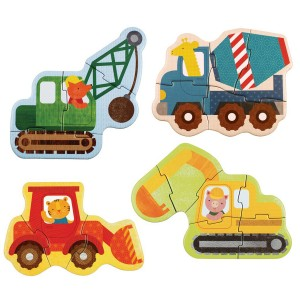 Petit Collage Beginner Puzzles Set in Construction