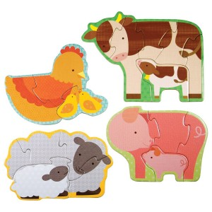 Petit Collage Beginner Puzzles Set in Farm Babies